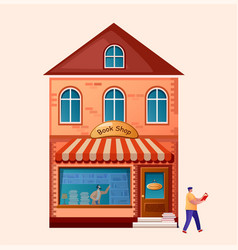 book shop exterior market building cartoon flat vector image