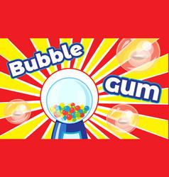 bubble gum concept banner cartoon style vector image