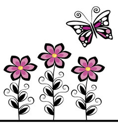 Butterflies and flowers 18 vector