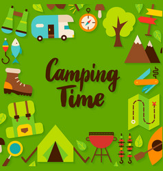 Camping time lettering postcard vector