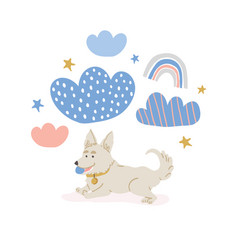 Circle with cute corgi dog rainbows vector