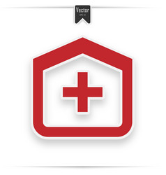 clinic icon medical hospital red flat icon vector image