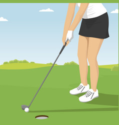 Close up of lady golfer putting vector