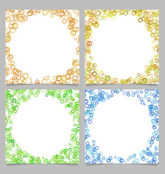 Colored round border background design set with vector
