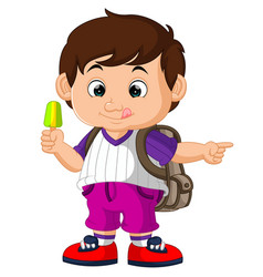 Cute boy holding ice cream cartoon vector
