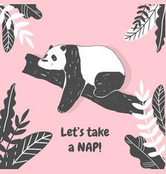 Cute panda bear birthday greeting card vector