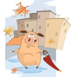 Cute Pig and Windy Autumn Day Cartoon vector
