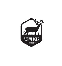 deer badge logo design vector image