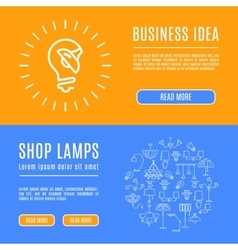 Design template banner shop lamps Line art icons vector image