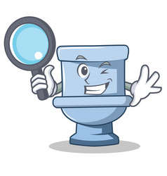Detective toilet character cartoon style vector