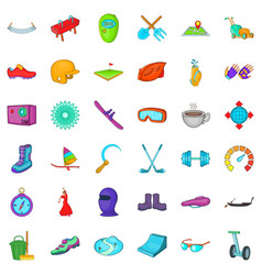 Different activity icons set cartoon style vector