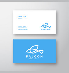 falcon bird line style logo and business card vector image