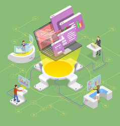 Flat isometric concept software vector