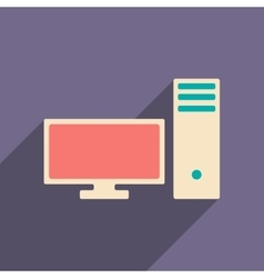 Flat with shadow icon and mobile applacation pc vector