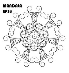 Flower mandala coloring book element vector