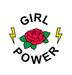 flower rose with slogan girl power t-shirt design vector image