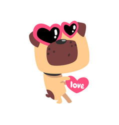 Funny pug dog in sunglasses in the shape of a vector