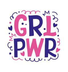 Girl power hand drawn lettering design vector