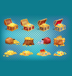 gold treasures in old wooden chest and fabric bag vector image