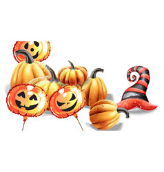 Halloween pumpkins watercolor balloons and hat vector