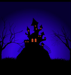 Halloween spooky castle background vector