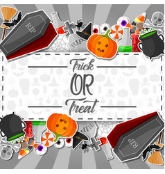 halloween sticker with white and black background vector image