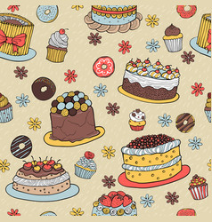 hand-drawn dessert seamless pattern vector image