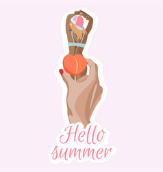 hand with peach stylish sun-tanned lady vector image
