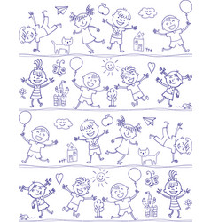 Happy kid cartoon doodle drawing like children vector