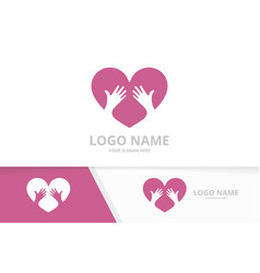 heart and hands logo combination love vector image
