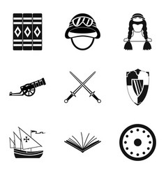 historical fact icons set simple style vector image