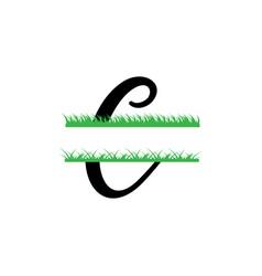 initial c grass monogram split letter isolated vector image