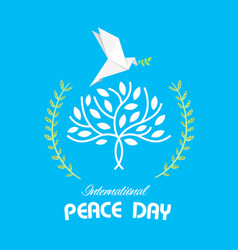 international peace day peace olive branch origami vector image