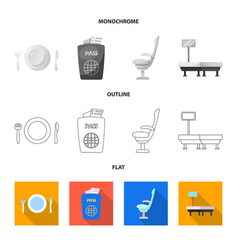 Isolated object of airport and airplane icon set vector