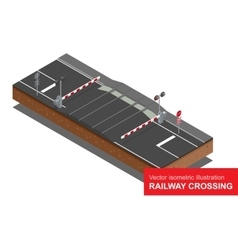 Isometric of railway crossing vector