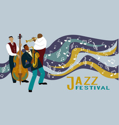 jazz band on a decorative background with notes vector image