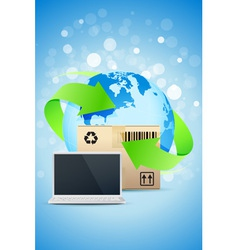 Laptop with Earth Globe and Cardboard Box vector image