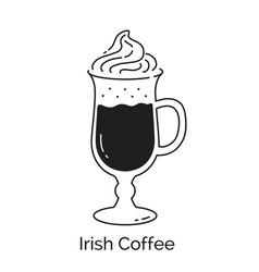 Line art irish coffee glass vector