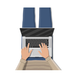 man lying on sofa couch and using laptop vector image