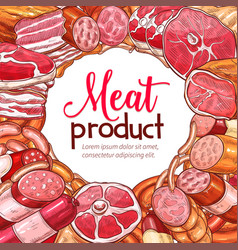 Meat product and sausage sketch poster vector