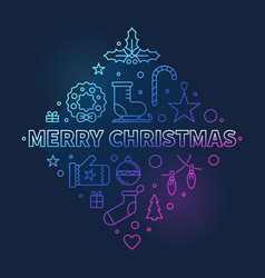 merry christmas colored linear concept vector image