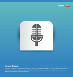 microphone icon - blue sticker button vector image