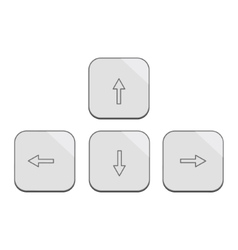 Modern design keybord arrows set in silver vector image