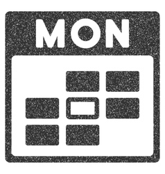 Monday Calendar Grid Grainy Texture Icon vector