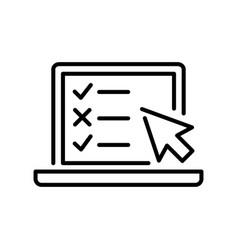 monochrome online testing icon vector image