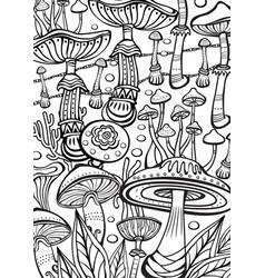 Mushrooms coloring antistress book page vector
