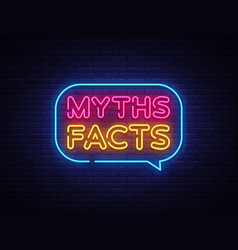 Myths facts neon text facts neon vector