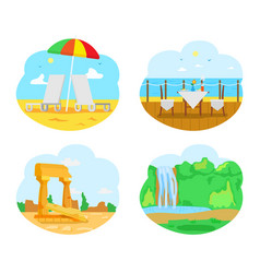 Nature scenery landscape and seascape places vector