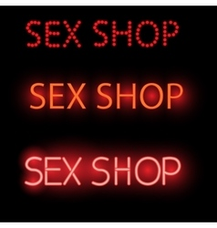 neon sign - sex shop a bright red Billboard vector image