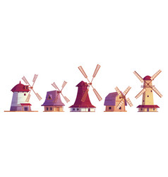 old windmills vintage stone and wooden wind mills vector image